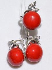 Лолита-коралл(кольцо + серьги из серебра)