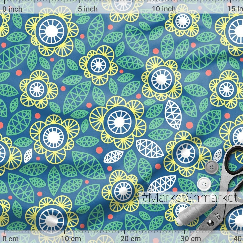 Геометрические цветы на синем фоне