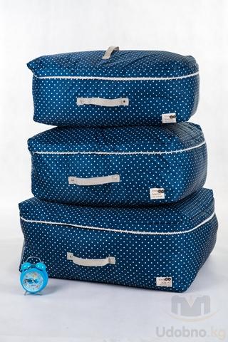 Подарочный набор из 3 сумок для хранения (темно-синий в горошек)