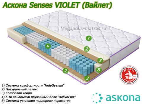 Матрас Askona Senses Violet со слоями от Megapolis-matras.ru