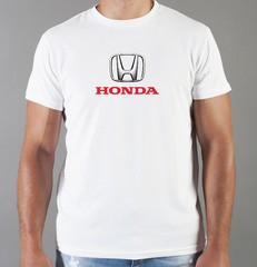 Футболка с принтом Honda (Хонда) белая 05