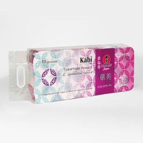 Туалетная бумага трехслойная с ароматом ириса Maneki Kabi 10 рулонов