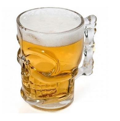 Пивная кружка Череп, 300 мл, стекло пивная кружка коллекционная герб с крышкой стекло олово 95 уп 1 12шт 763172