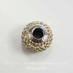80101 Бусина Сваровски BeCharmed Pave Crystal Luminous Green 14х9 мм