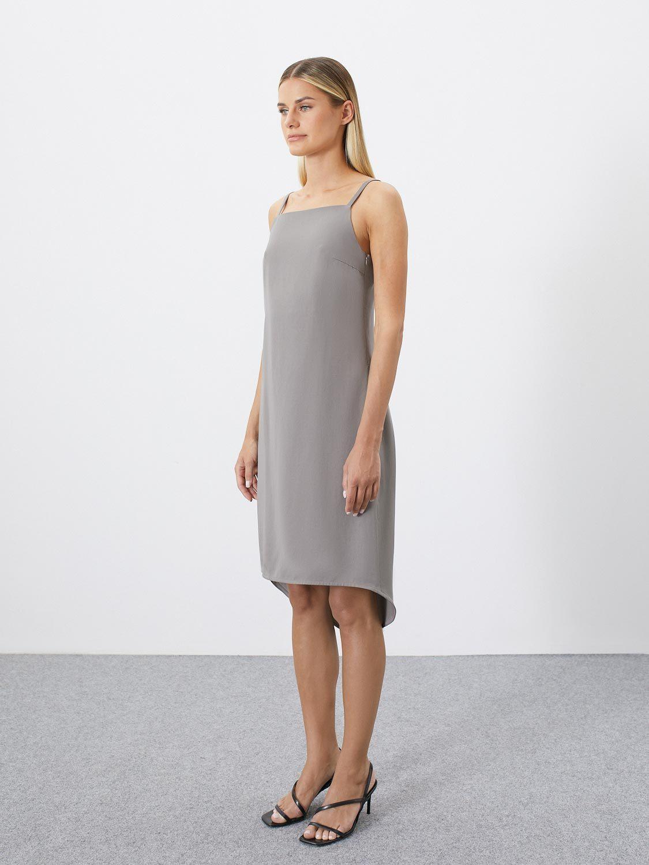 Платье Violet на бретелях с удлинённой спинкой, Серый
