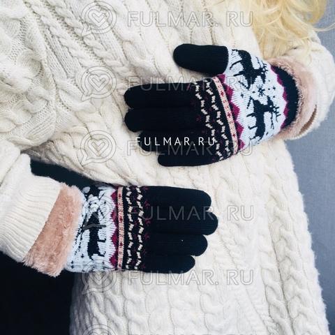 Перчатки с оленями шерстяные женские (Цвет: чёрный)
