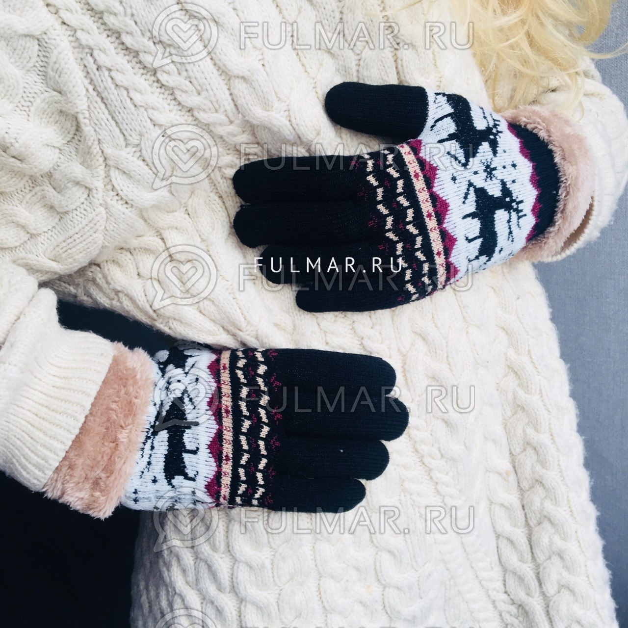 Перчатки с оленями шерстяные женские (Цвет: чёрный) фото
