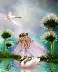 Картина раскраска по номерам 40x50 Дюймовочка с лебедем в цветах