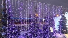 Занавес светодиодный уличный 3*3м 1800LED фиолетовый
