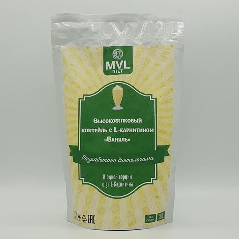 Смесь для высокобелкового коктейля с L-карнитином ваниль MVL, 300 гр