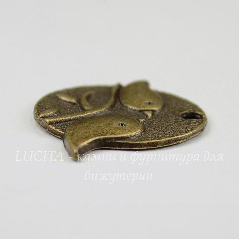 "Подвеска ""Птички"" (цвет - античная бронза) 29х25 мм"