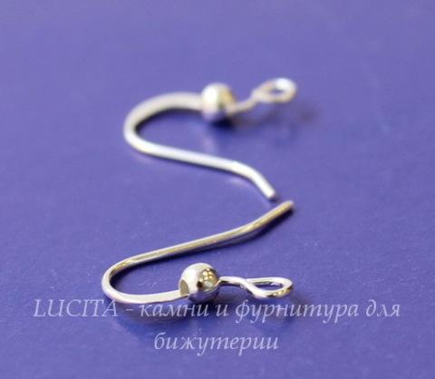 Швензы - крючки плоские с шариком (цвет - серебро), 5 пар