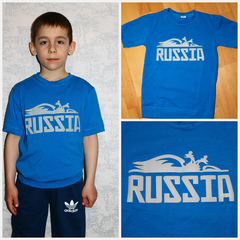 "Футболка ""RUSSIA"" БОЛЬШАЯ Голубая"