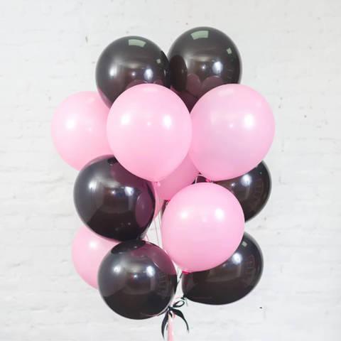 25 шаров 36 см розовый и черный