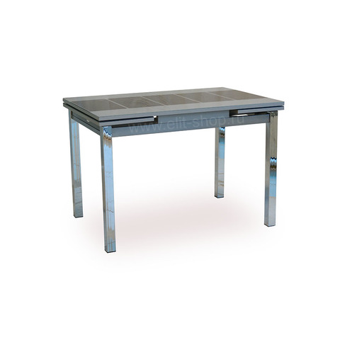 Стол ДАЛАСИ ТРЕНД Серый / рис. черный / подстолье серое / опора №3 хром / 110(170)х74см