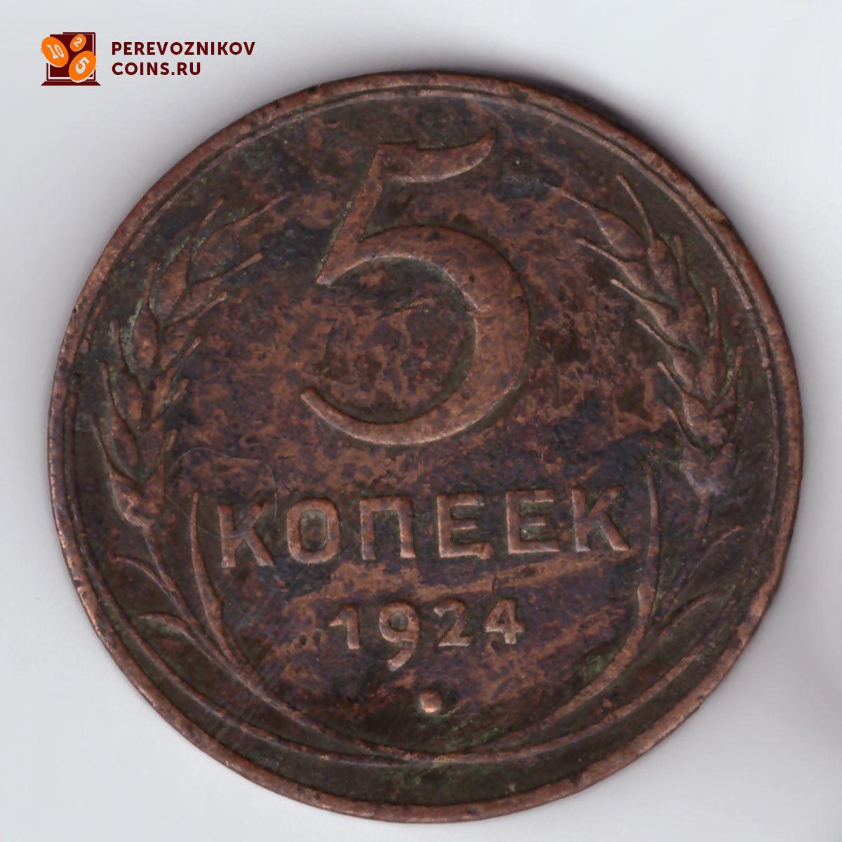 5 копеек 1924 год. (Шт. 2.1) F-