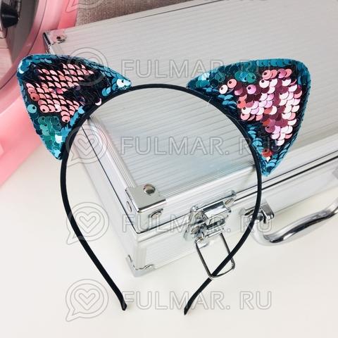 Ободок для волос Ушки с двусторонними пайетками Голубые-Розовые