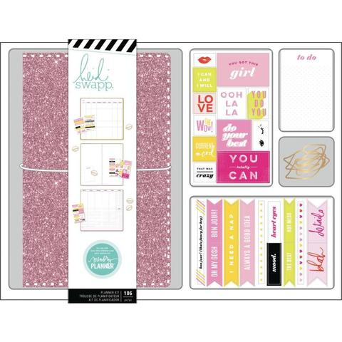 TRAVELER NOTEBOOK Набор- Планер с наполнением и комплект украшений. Heidi Swapp Personal Memory Planner Boxed Kit- Color Fresh, Pink Glitter
