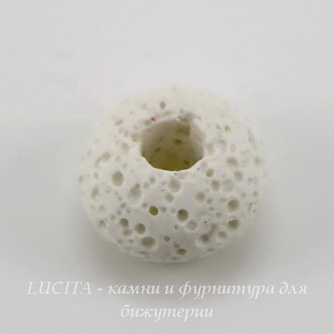 Бусина Лава, рондель, цвет - белый, 15х9 мм