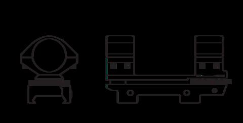 Кронштейн Hawke Adjustable на 26мм на планку Weaver, высокий, +/-30 MOA