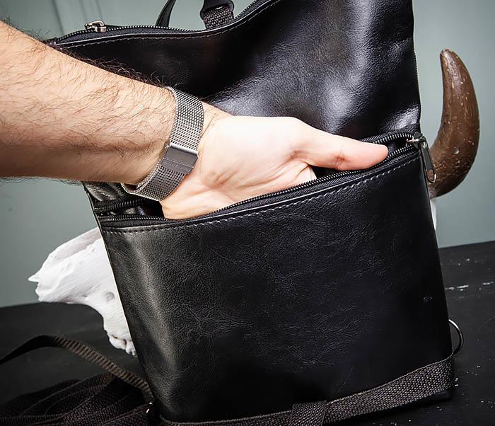 BAG462-1 Небольшая мужская сумка - рюкзак из кожи черного цвета фото 10
