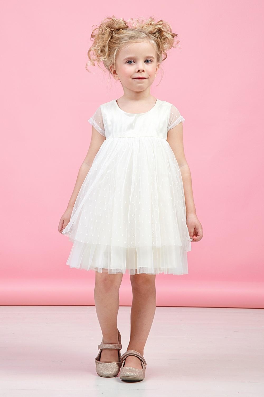 Платье белое для девочки 38-9006-1