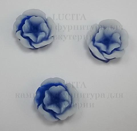 Кабошон акриловый двухцветный синий 13х6 мм ()