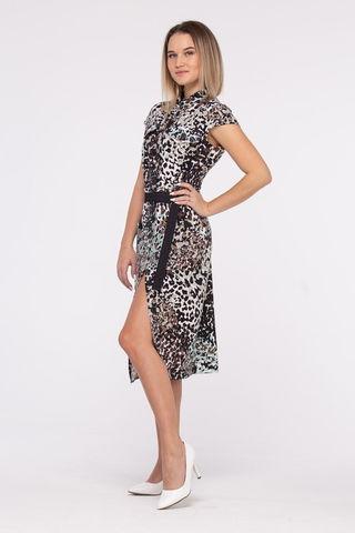 Фото летнее полуприлегающее платье с поясом и анималистическим  принтом - Платье З459-138 (1)