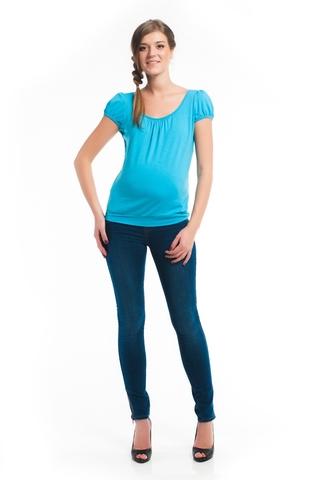 Футболка для беременных цвет голубой