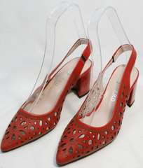 Женские открытые туфли босоножки красные на каблуке G.U.E.R.O G067-TN Red