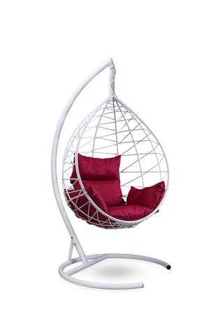 Подвесное кресло-кокон ALICANTE белое + каркас + бордовая подушка