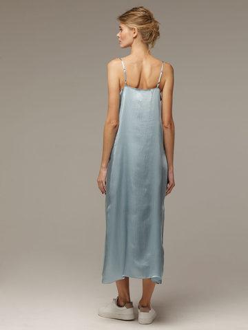 Женское светло-голубое платье из 100% шелка - фото 3