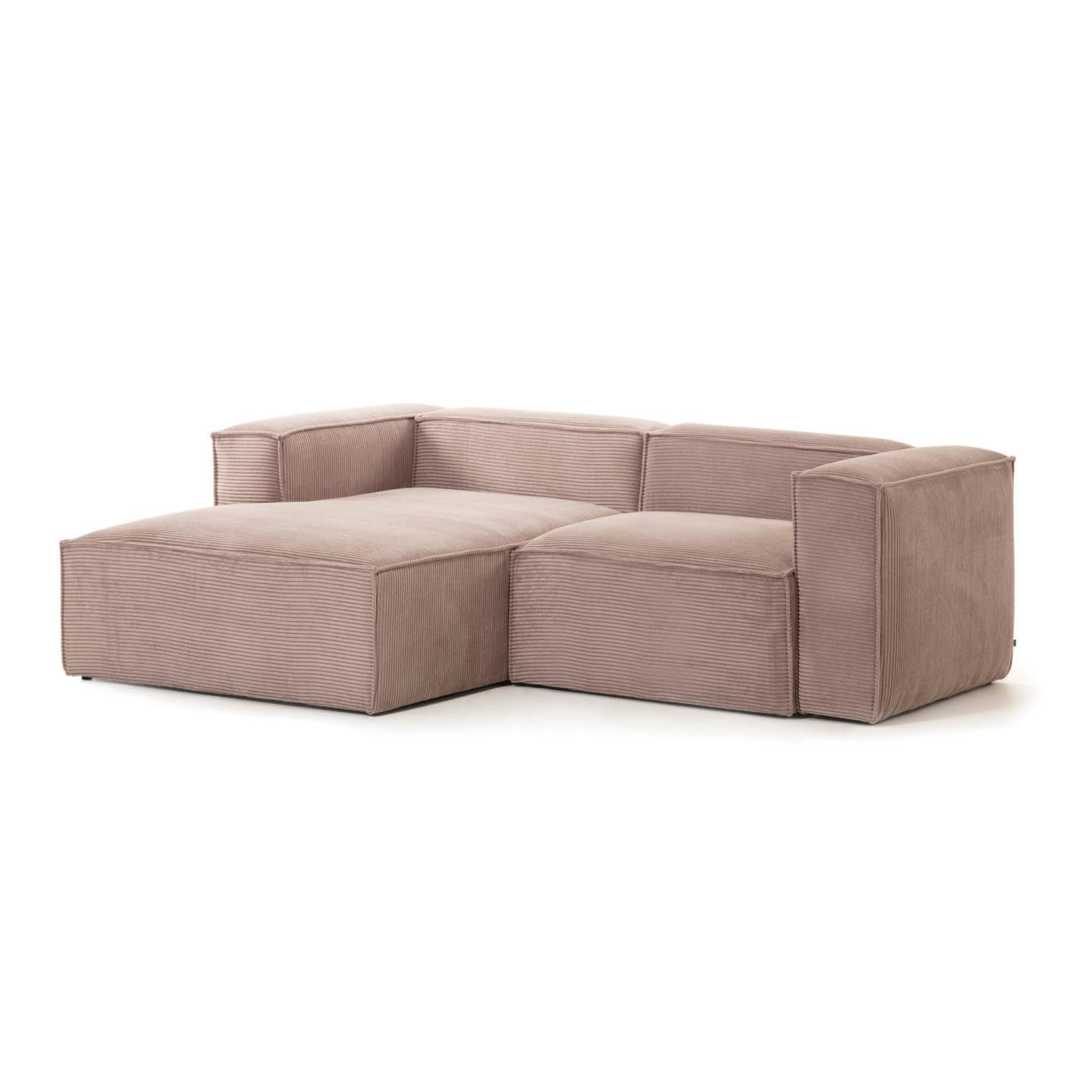 Pink velveteen 2-seater Blok sofa with left chaise longue