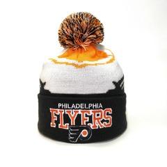Вязаная шапка хоккей НХЛ Филадельфия Флайерз (Hockey NHL Philadelphia Flyers) с помпоном