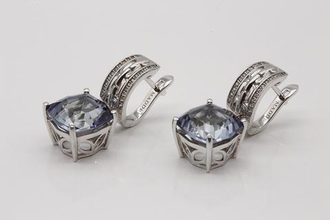 Серьги из серебра 925 пробы с мистик аметистом Fab016E-4228MI