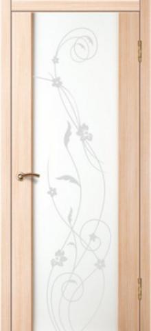 Дверь Стиль 1 (триплекс белый орхидея) (беленый дуб, остекленная ПВХ), фабрика Зодчий