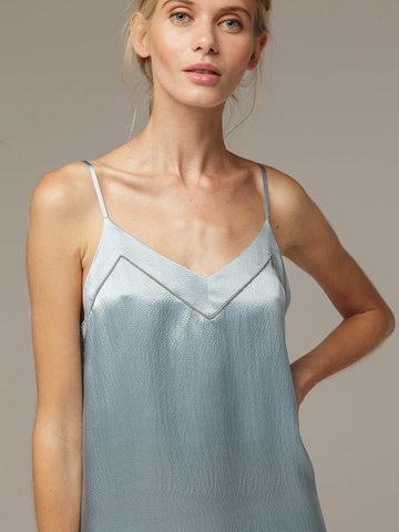 Женское светло-голубое платье из 100% шелка - фото 2