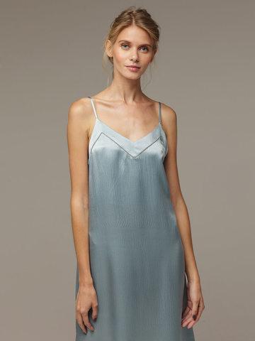 Женское светло-голубое платье из 100% шелка - фото 4