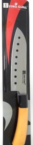 Кухонный нож YG-188 с отверстиями 170мм бел.ручка