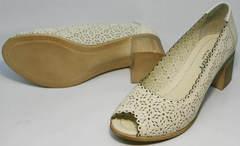 Красивые туфли на невысоком каблуке летние женские Sturdy Shoes 87-43 24 Lighte Beige.
