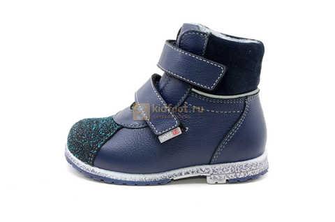 Ботинки для мальчиков Лель (LEL) из натуральной кожи на байке на липучках цвет синий. Изображение 3 из 14.