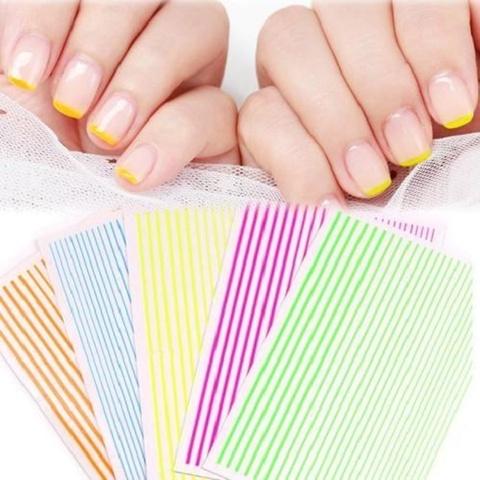 Лента для дизайна ногтей Металлизированная 3d, голубая
