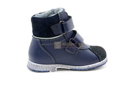 Ботинки для мальчиков Лель (LEL) из натуральной кожи на байке на липучках цвет синий. Изображение 4 из 14.