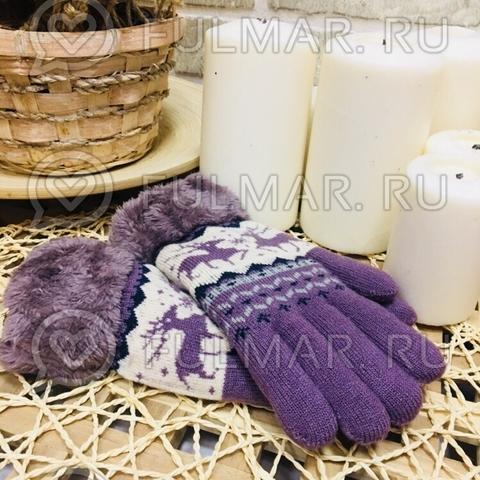 Перчатки с оленями шерстяные женские (Цвет: лиловый)