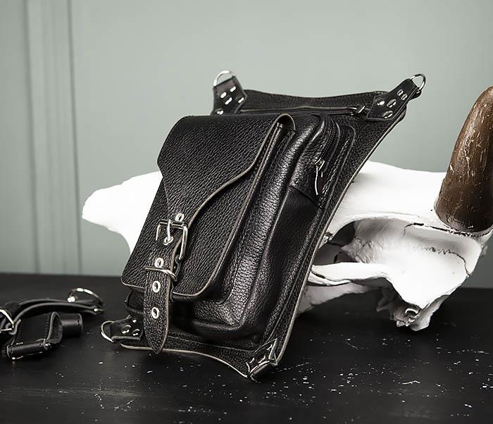 BAG369-1 Мужская набедренная сумка ручной работы из натуральной кожи фото 03