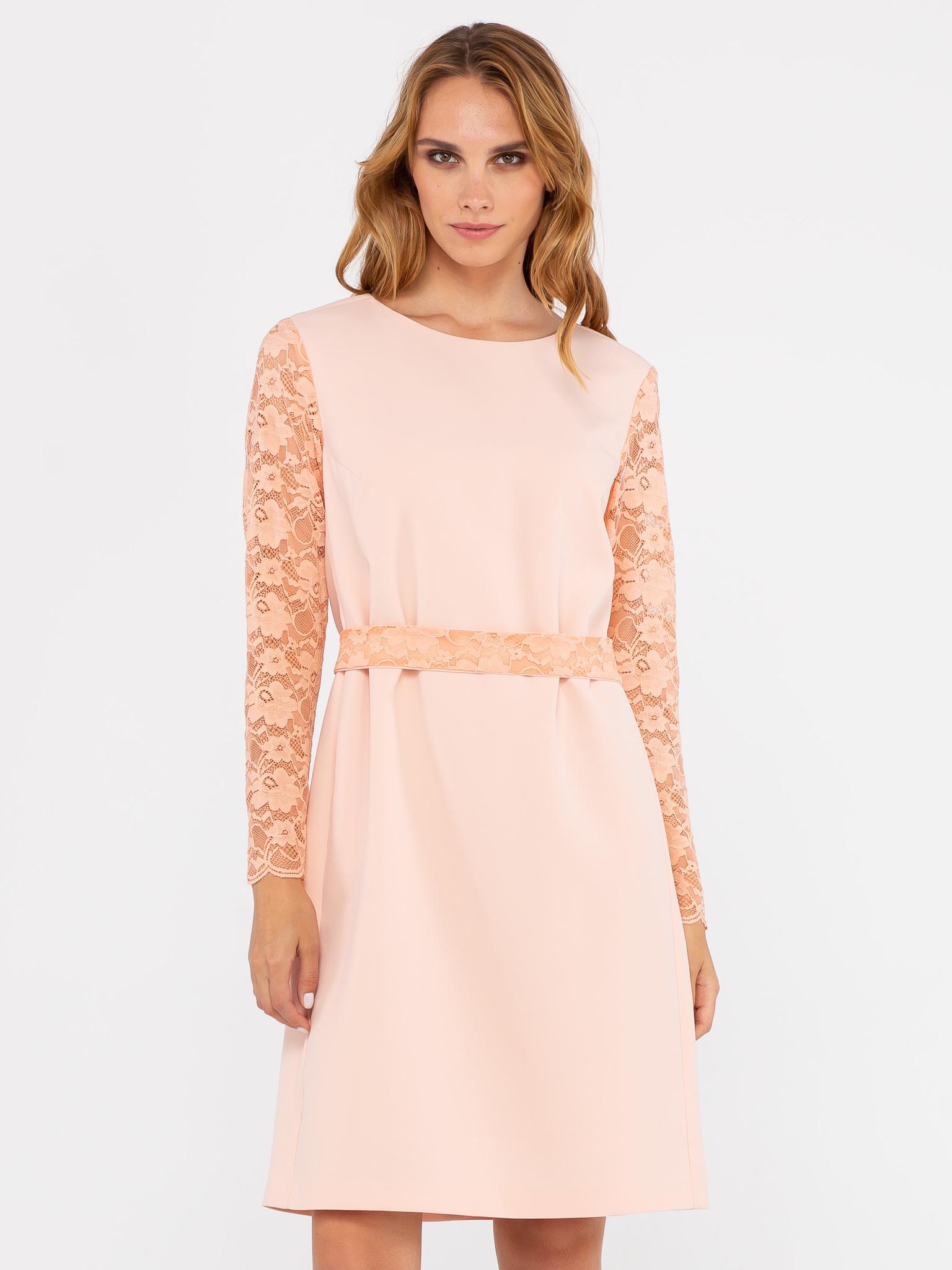 Платье З241-307 - Платье из полиэстера с кружевными рукавами для торжественных случаев. Прямой силуэт скрывает недостатки фигуры, а стильные рукава привлекают внимание окружающих. Платье выполнено из приятной на ощупь ткани из полиэстера с добавлением эластана. Эта модель создана для настоящих леди, которые хотят выглядеть безупречно в любой обстановке.
