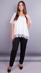 Квитка. Гипюровая блуза больших размеров. Белый.