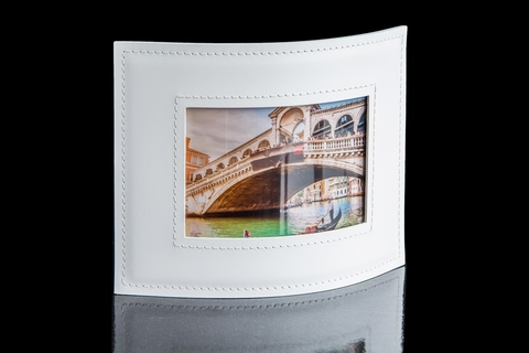 Рамка для фотографий из кожи цвет БЕЛЫЙ