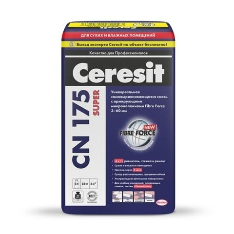 Ceresit CN 175 SUPER/Церезит ЦН 175 СУПЕР универсальная самовыравнивающаяся смесь с армирующими микроволокнами Fibre Force