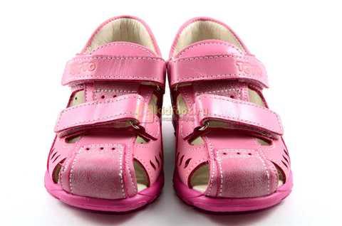 Босоножки Тотто из натуральной кожи с закрытым носом для девочек, цвет розовый. Изображение 5 из 12.